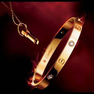 Cartier Love Bracelet Pink Gold with 4 Diamonds
